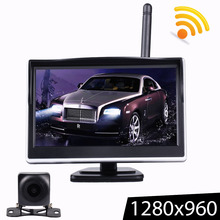5 Inch TFT LCD HD Screen Wireless Car Monitor Parking Rear View Monitor Color Car Rear View Backup Camera with 2 Way Video Input