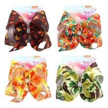 8Pcs/lot Jojo Siwa Bows 8 Large Hair for Girls with Clips Maples Print Rhinestone Bow Knot Hairgrips Party Kids Headwear
