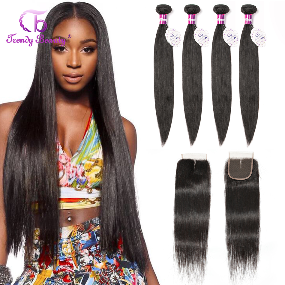 Trendy Beauty Peruvian Straight Hair 4 Bundles With Closure 100% Human Hair Bundles With Baby Hair Closure Middle/Three/Free