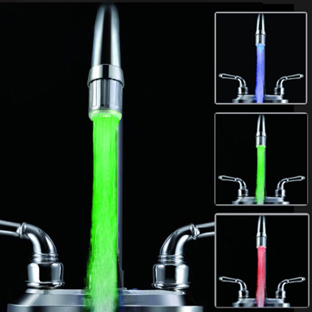 LED Water Faucet Stream Light Kitchen Bathroom Shower Tap Faucet Nozzle Head 7 Color Change Temperature Sensor Light Faucet Led