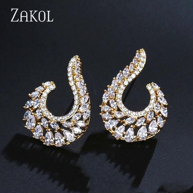 ZAKOL Elegant Symmetrical Leaf Design Stud Earrings With Cubic Zircon Big Jewelry For Wedding Women FSEP2038