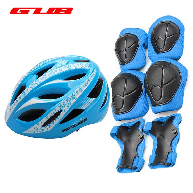 GUB STAR Cycling Skating Skateboard Kids Helmet+Elbow Knee Wrist Pads Children Bike Bicycle Helmet Roller Protective Gear