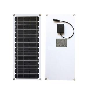 Image 2 - 12V 10w solar panel kit Transparent semi flexible Monokristalline solarzelle DIY modul outdoor stecker DC 12v ladegerät