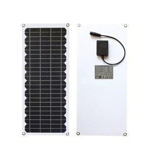 Image 2 - 12V 10w zestaw paneli słonecznych przezroczysty półelastyczny panel solarny monokrystaliczny moduł DIY zewnętrzne złącze DC 12v ładowarka