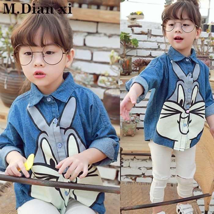 중국어 착용 2018 가을 정장 새로운 한국어 재킷 어린이 긴 소매 데님 셔츠 3-11 세 소년과 소녀 청바지