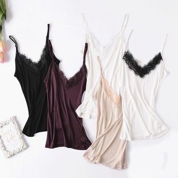 100% Silk Tank Tops Women High Quality Fabric Shoulder Strap Adjustable Length Solid 5 Colors Casual Basic Clothing Fashion