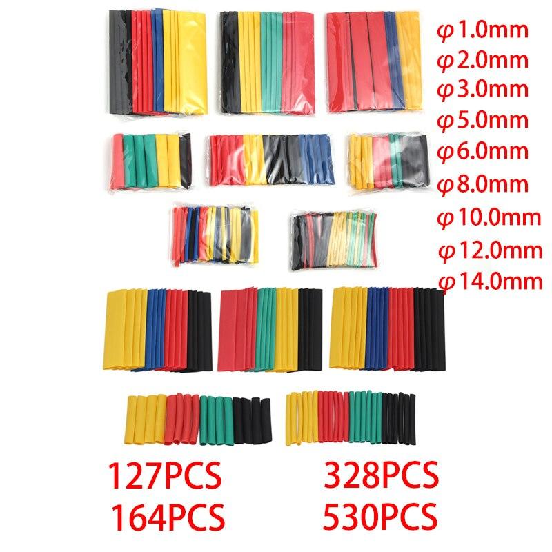 Manga termo retrátil poliolefina, conjunto de 164/328/127 peças de cabo isolado, encolhível, calor, combinado manga 21,