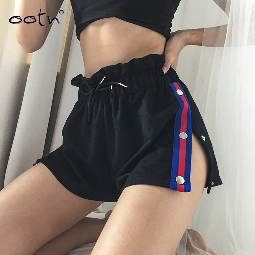 Streetwear Button Lace Up High Waist   Shorts   Women's Black Patchwork Split Hot   Shorts   Female Summer 2019 New Ruffles Casual   Short