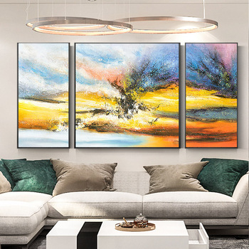 Nordic Style hand-painted Oil Painting Abstract Decorative Paintings Modern Living Room Triple Combination Light Extravagance Bi