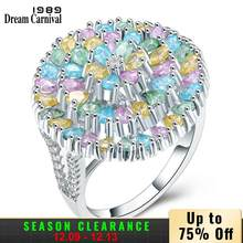 DreamCarnival 1989 Big Round Shape High End Pastel Multi สีสัน Glitter Effect Zircon Lady Statement แหวน SJ29893R(China)