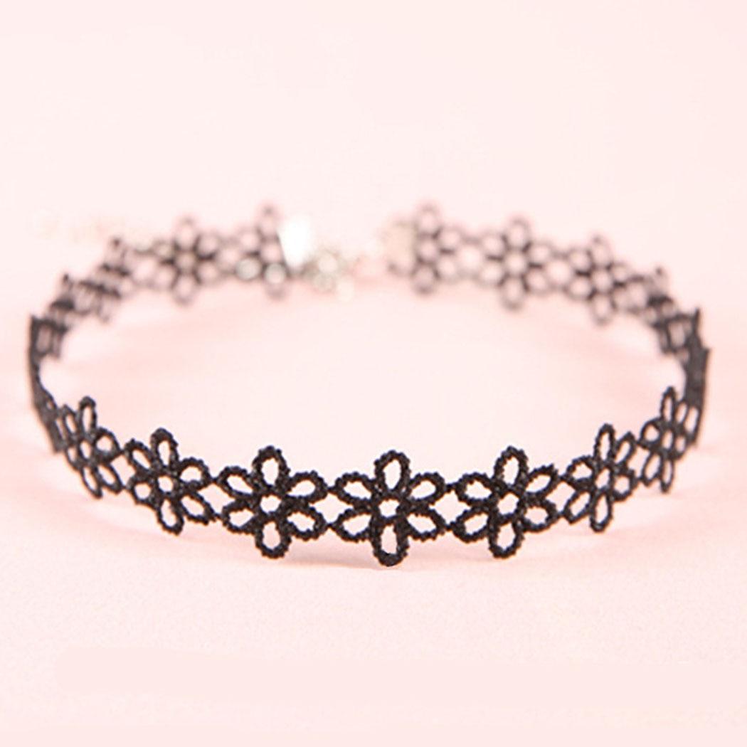 1 шт., женское черное колье для девочек, декоративное ретро цветочное дизайнерское кружевное колье, ожерелье для ключицы, сексуальное вечерн...