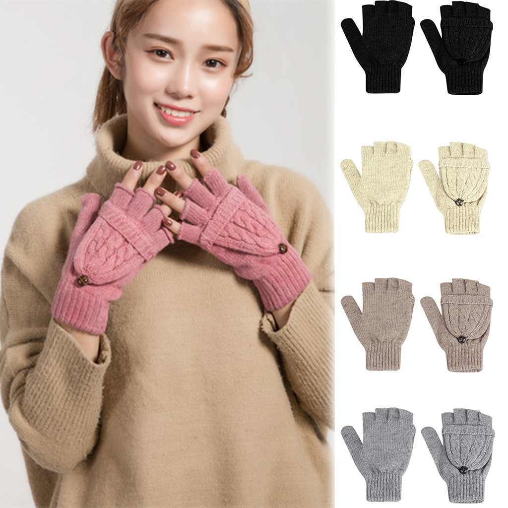 Women's Winter Gloves Warm Lining - Cozy Cable Knit Thick Gloves Mittens Knitted Convertible Flip Top Fingerless Mittens Gloves