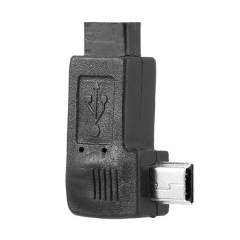 Right Angled USB 2.0 Micro 5 Pin Female to Mini 5Pin Male 90 Degree Adapter Converter Connectors Left Right Angle Black image