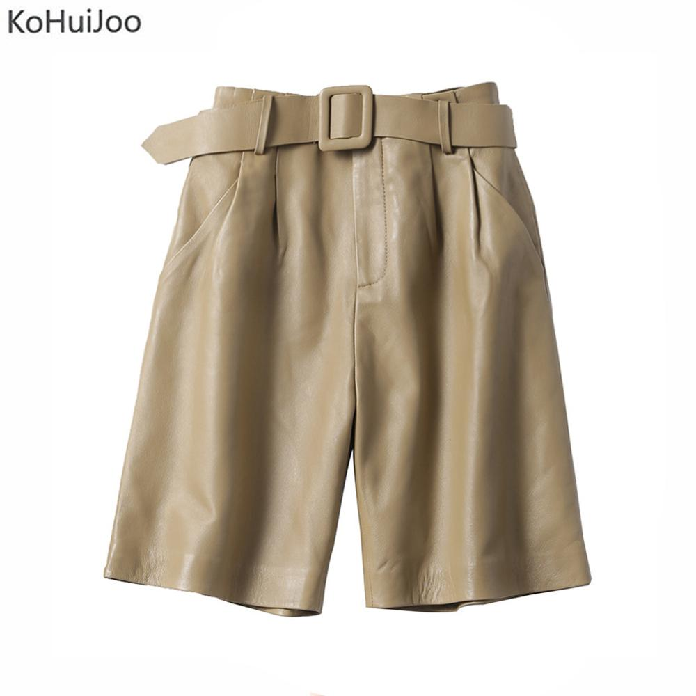 KoHuiJoo Genuine Leather Shorts Women Slim Straight Sheepskin Leather Shorts Female High Quality Soft Fashion Shorts