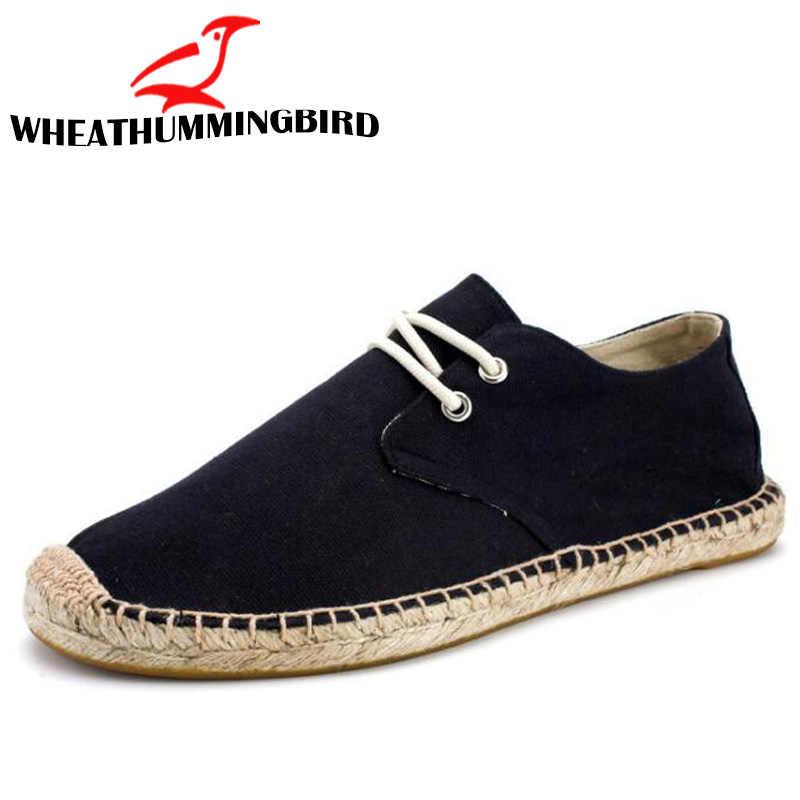 Black Linen Hemp Wrap Mens Shoes