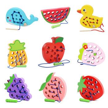 Gra logiczna Montessori zabawki drewniane robak jeść owoce gwintowanie zabawki edukacyjne dla dzieci wczesne uczenie się zabawki Montessori tanie i dobre opinie CN (pochodzenie) 13-24m 25-36m 4-6y
