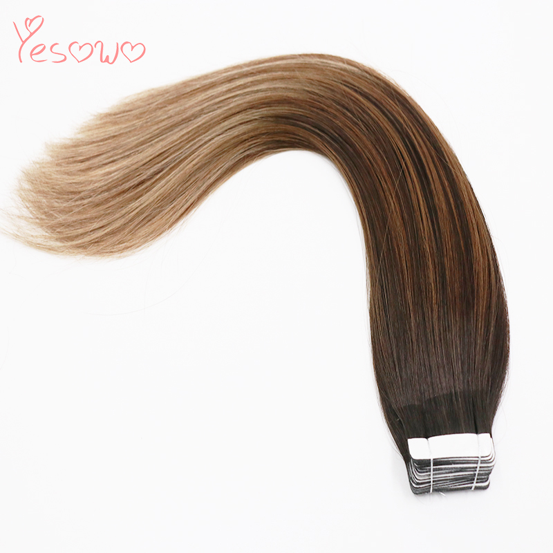 Yesowo High Quality Hair Extensions For Thin Hair 50g 1b/6/27# Ombre Human Hair Indian Remy Double Sided Tape Extensions