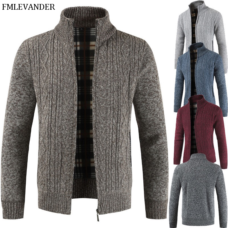 Winter Autumn Warm 2019 Zipper Plus Size 3XL Mandarin Collar Cardigan Thick Sweater Coat Men