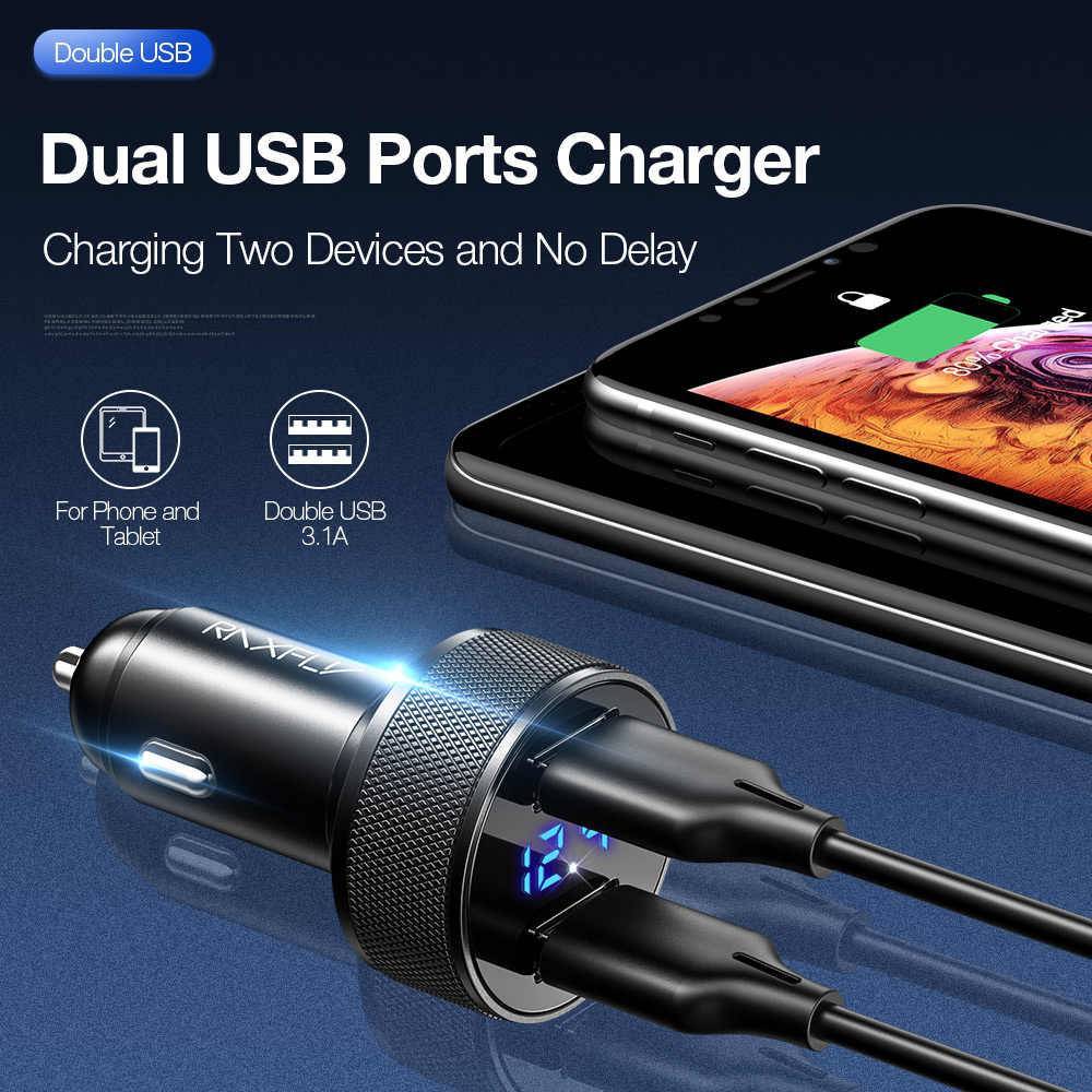 Raxfly Sạc Trên Ô Tô Cho Điện Thoại Di Động Trên Xe Hơi USB Sạc Màn Hình Hiển Thị Kỹ Thuật Số 5V2.4A Sạc Nhanh Bộ Dây Sạc Điện Thoại Dành Cho Xiaomi iphone