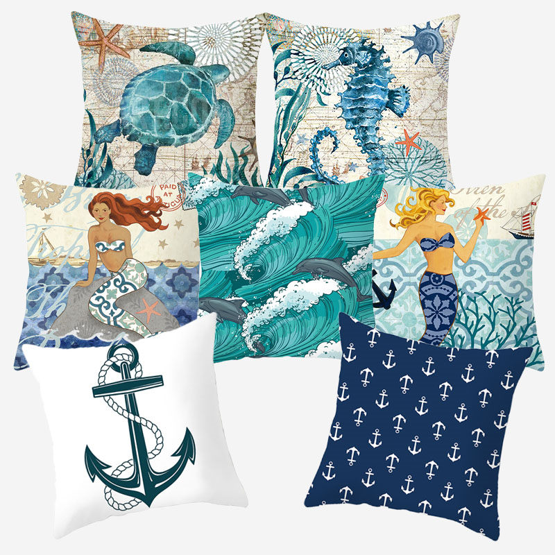 Marine Sea Style Cushion Cover Polyester Decorative Cushions For Sofa Pillow Case Throw Pillow Covers Home Pillowcover 10305