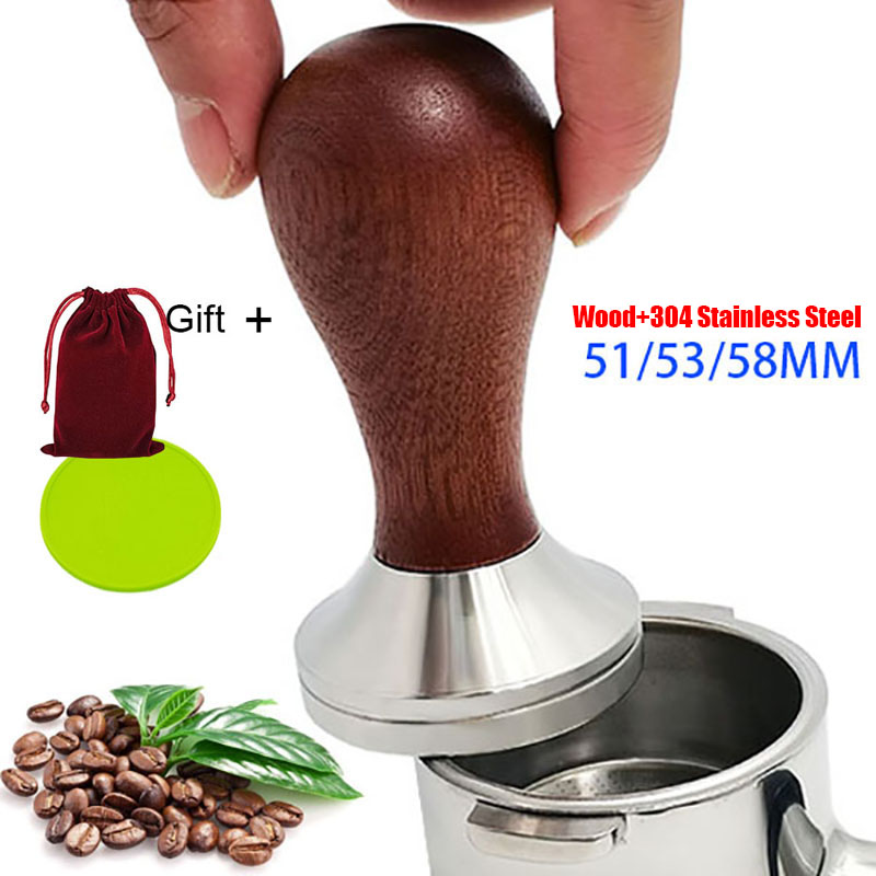 51/53/58mm Coffee Tamper with 304 Stainless Steel Base & Solid Wood Handle, Calibrated Tamper Coffee Press Tool