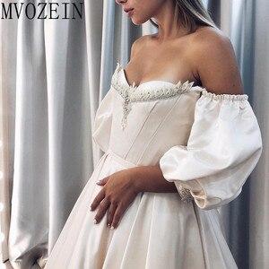 Image 5 - Vintage Wedding Dresses 2019 Satin Bridal Gowns Off The Shoulder Full Sleeves Hand Beading Wedding Dress robe de mariage
