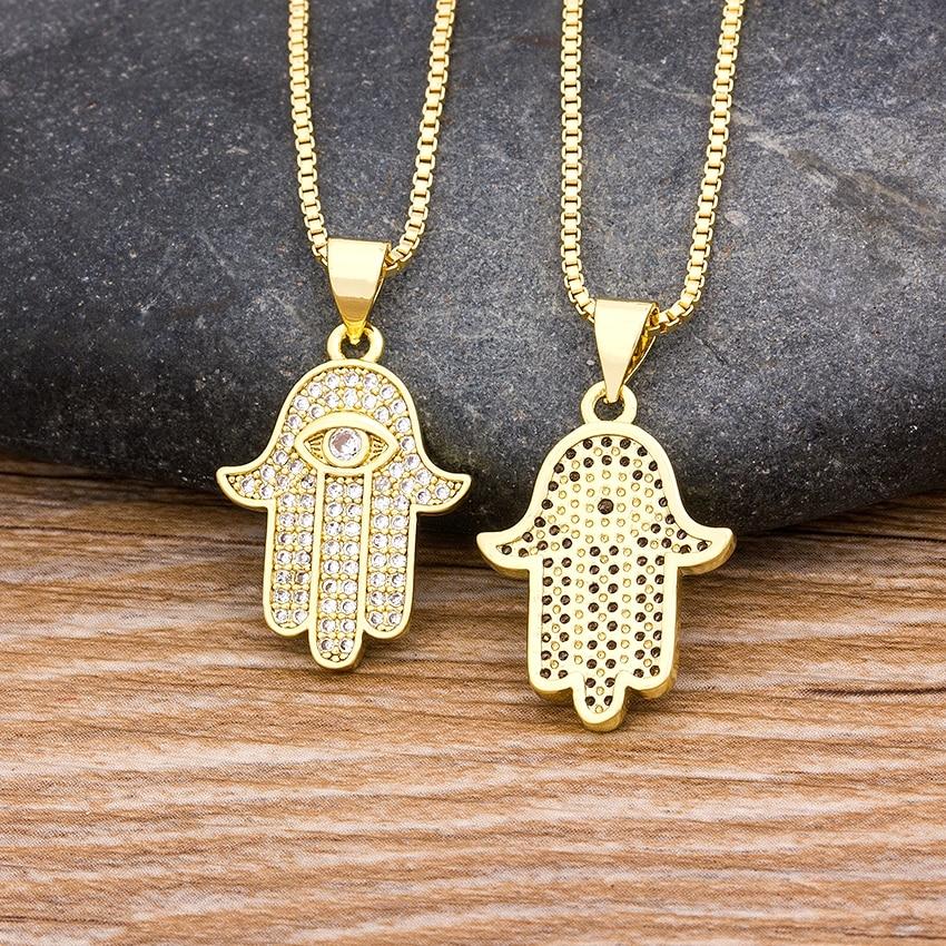 Hpt Sale Women Men Hamsa Hand Necklace Gold Color Copper Zircon Evil Eye Pendant & Chain Hip Hop Turkish Luck Jewelry