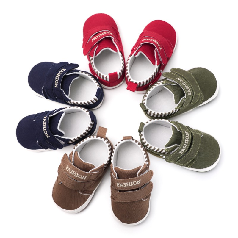 Toddler Infant Baby Shoes Soft Sole Canvas First Walker Solid Footwear For Newborns Moccasins 4 Colors Available