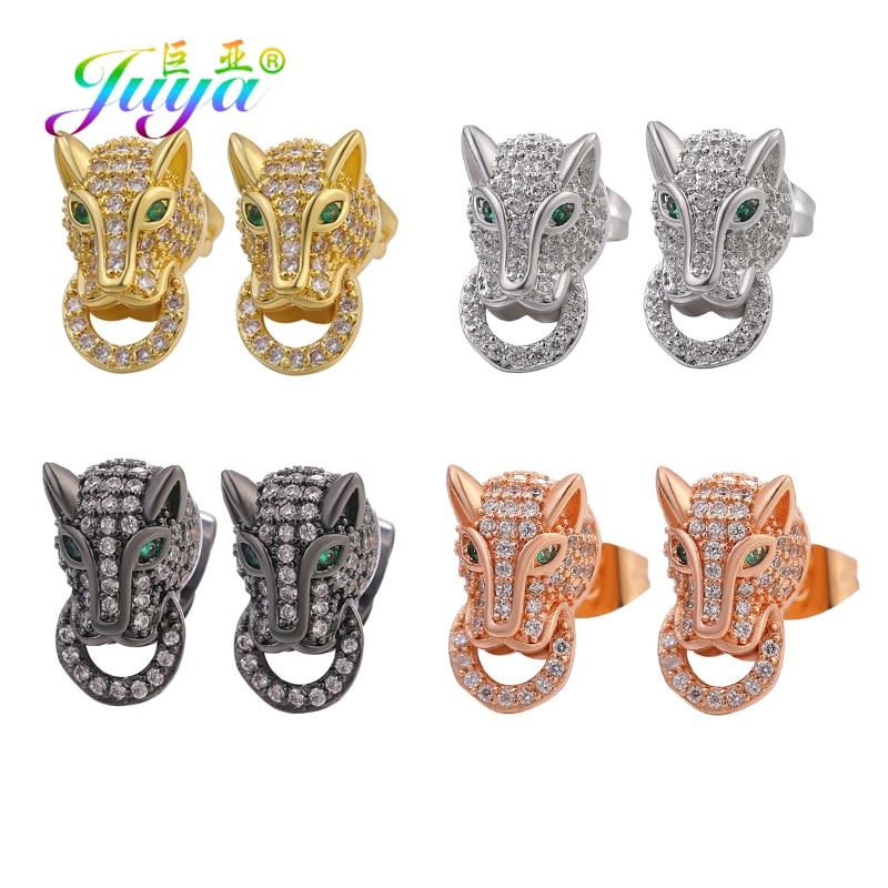 Juya Handmade Gold/Silver Color Punk Earrings Supplies Micro Pave Crystal Green Eyes Leopard Head Stud Earrings For Women Men