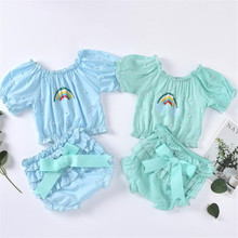 2020 Infant Baby Sets Summer Rainbow Print Pearls Off Shoulder Blouse Crop Tops+Ruffles Shorts Princess Baby Girl Clothing 3-24M tie neck off shoulder crop blouse