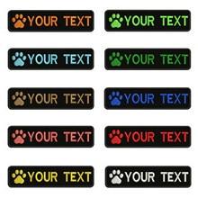 Logotipo Do Cão Da Pata do cão pegadas 10X2.5cm Bordado Nome Custom Text Stripes Patch emblema Iron On Ou Velcro Patches Para Coleira de Cachorro