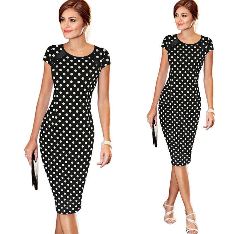 Hdd213119891846dc979f8ed3666a3c4dT Elegant Women's High-waist Short Sleeve Dot Star Print Dress Formal Business Work Sheath Pencil Knee-length Dresses