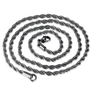 Четыре Цвет витая веревка форме плетённого кольца в стиле «хип хоп», реперские кепки 3 мм из нержавеющей стали для украшений ручной работы колье минималистское ожерелье ювелирные изделия для мужчин Цепочки      АлиЭкспресс