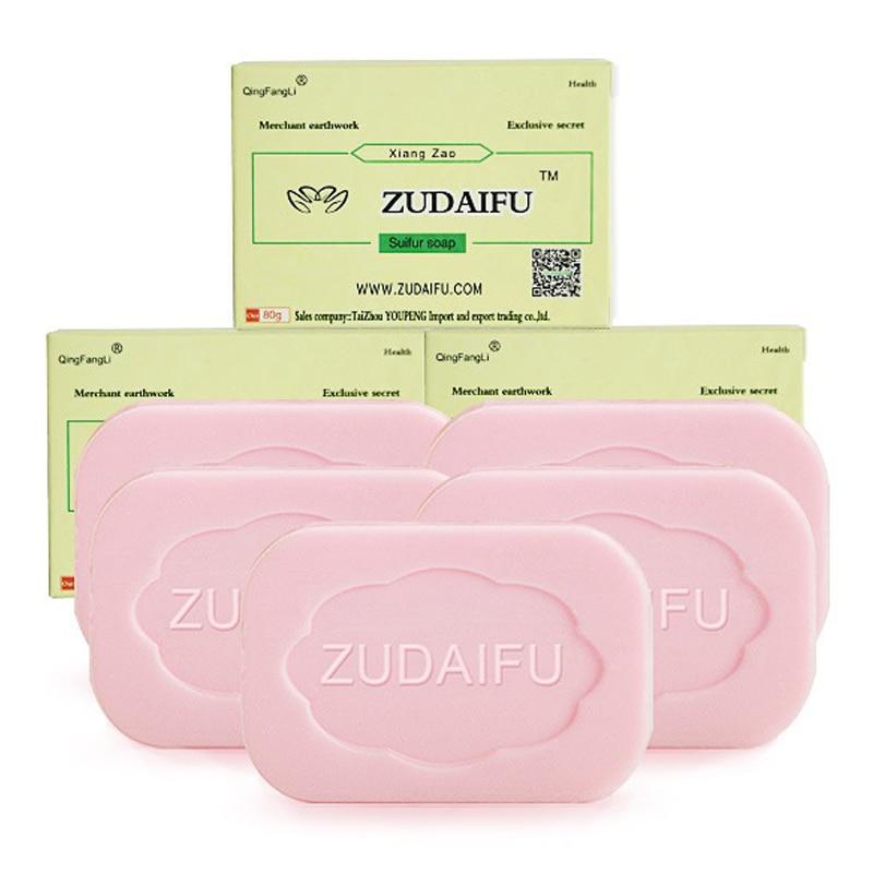 5/10 PCs Zudaifu Sulfur Soap Treatment Psoriasis Eczema Skin Peel Cleanser Oil-Control Anti Fungus Whitening Soaps Remove Acne