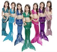 Mermaid Swimsuit Girls 3PCS Bikini Set Mermaid Tail With Monofin Fin Child Swimwear Mermaid Dress Costume Beachwear Cosplay