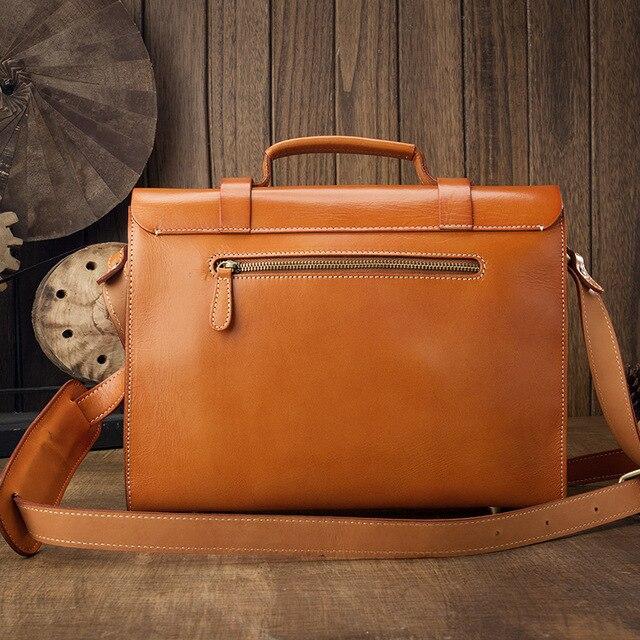 Cuir hommes sacs à main sac à bandoulière homme porte-documents décontracté sacs de messager à la main Original végétal tanné cuir Vintage doux