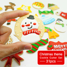 Christmas Cookie Cutter Set - 31pcs Tools Mould Biscuit Press Mold Stainless Steel Cake Decorating for Party