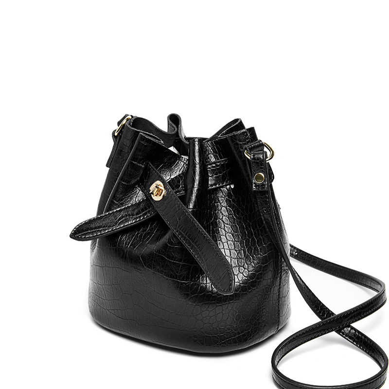 2019 nova mulheres balde couro do couro bolsa mulheres bolsas de ombro negro cor corssboy sacos do mensageiro para as mulheres - 5