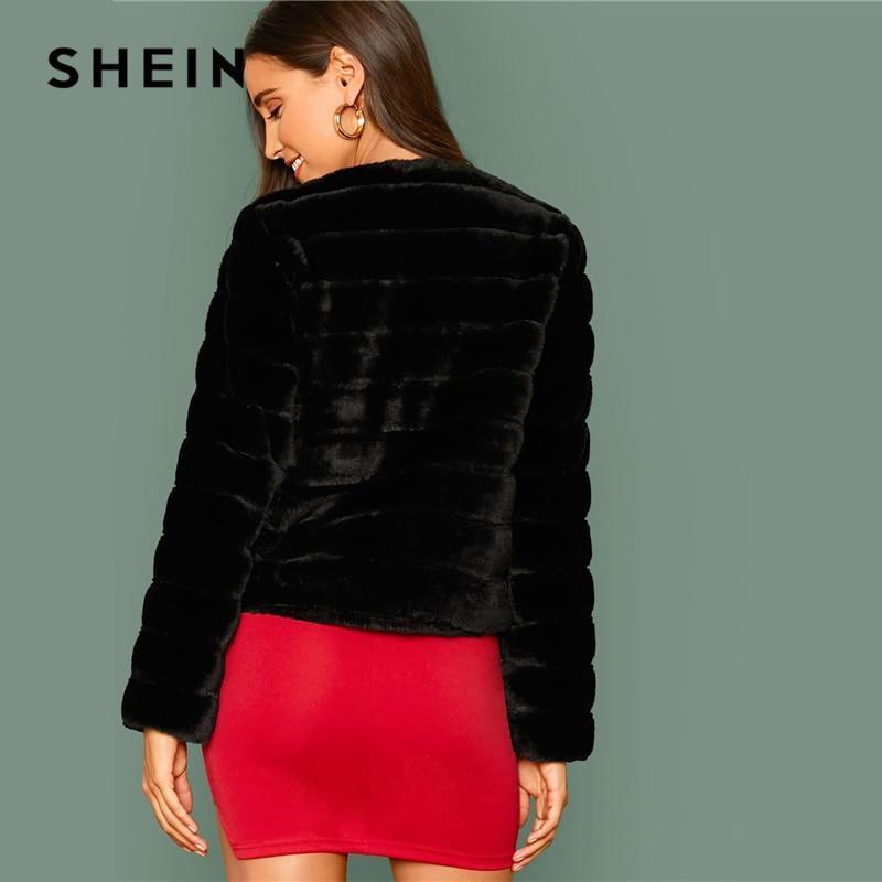 SHEIN Black Open Front Faux Fur Coat Women Winter Long Sleeve Highstreet Ladies Solid Glamorous Outwear Party Coats 2