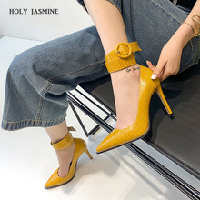 2020 New Pointed Toe Leather Women Pumps Fashion Office Shoes Sexy 8cm High Heels Thin Heel s Wedding
