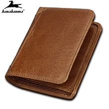 wallets for men made of  Retro Bifold Wallet Men's rfid Genuine Leather Credit ID Card Holder Case Purse matching gift box