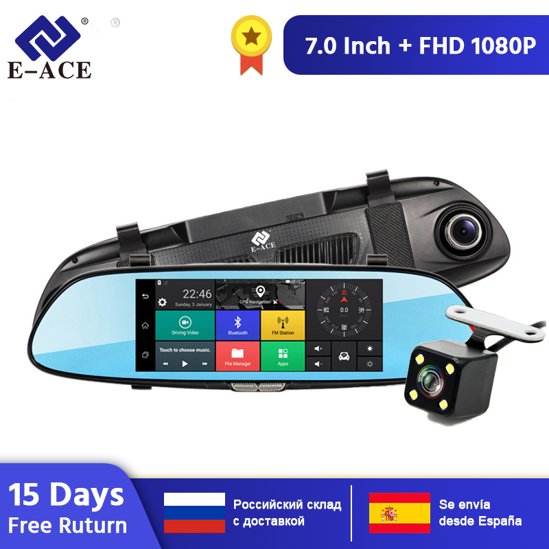 E-ACE android 3g gps navigators 7 Polegada carro dvr 1080 p gravador de vídeo espelho retrovisor dvrs com wifi buleoth android adas