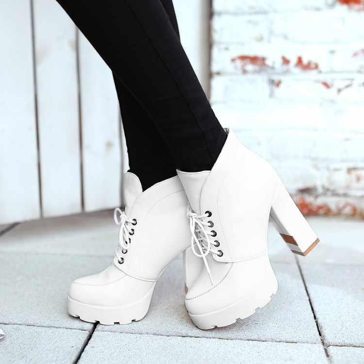 Große Größe 9 10 11 12 stiefel frauen schuhe stiefeletten für frauen damen stiefel schuhe frau winter Klar runde kopf vorder schnürung