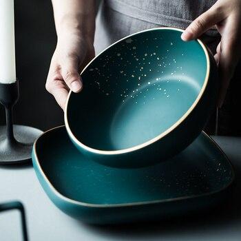 High Fashion Retro Green dinner plates set Nordic Ceramic Tableware Set Dinnerware Set Bowl Plate Soup Bowl Set Modern Style 5