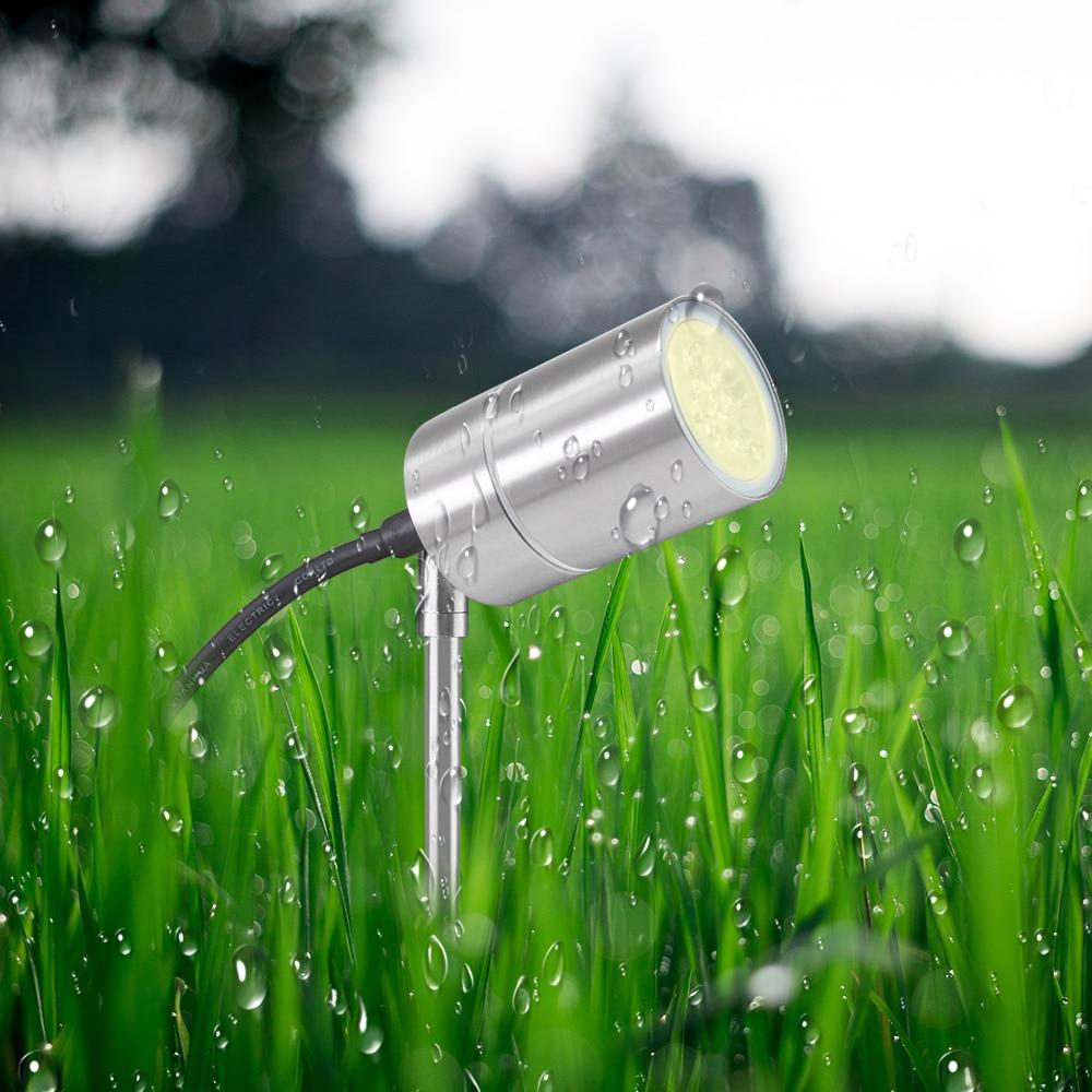 Modern Outdoor Lawn Lamp IP54 Spike Waterproof Stainless Steel Gu10 5W Spotlights Included for Garden Adjustable|LED Lawn Lamps| |  - title=