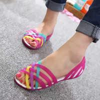 Verano Zapatos De jalea Mujer Sandalias femeninas planas Zapatos damas resbalón en Color caramelo Peep Toe suela suave exterior Casual Zapatos De Mujer