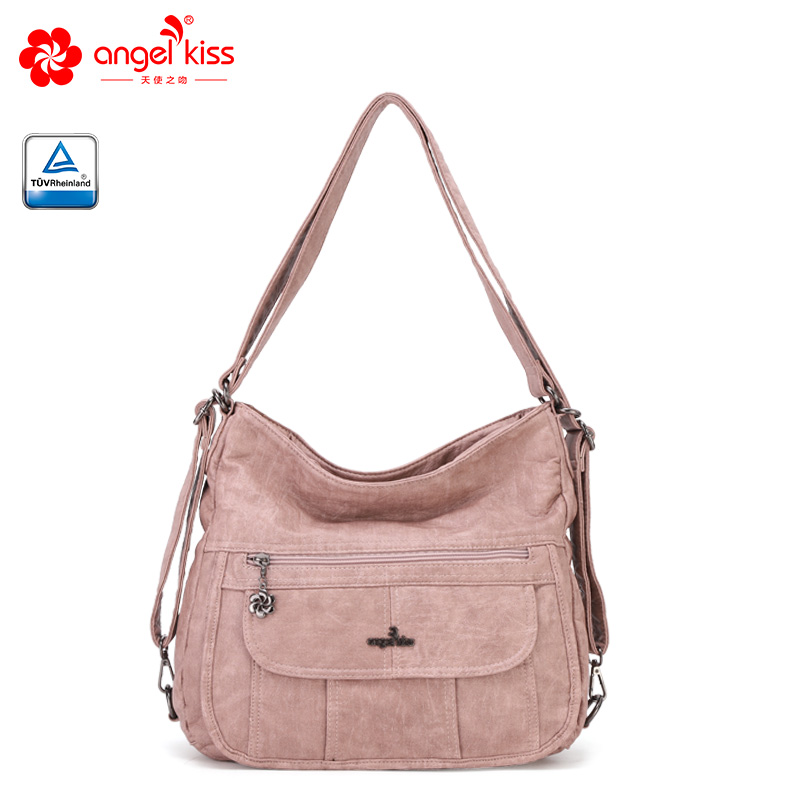 Angel Kiss Fashion Ladies Washed PU Handbag Shoulder Messenger Bag European And American Style Soft Leather Tote Bag