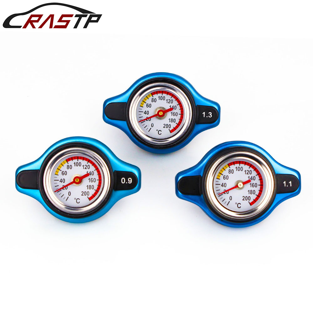 RASTP-Big Head Temperature Gauge With Utility Safe 0.9 And 1.1 1.3 Bar Thermo Radiator Cap Tank Cover with Logo RS-CAP001