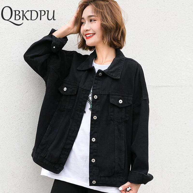 Harajuku Black Denim Jacket Women's Clothing 2019 Spring Korean Coat Women Outerwear Oversize Ladies Casual Jeans Jackets Tops