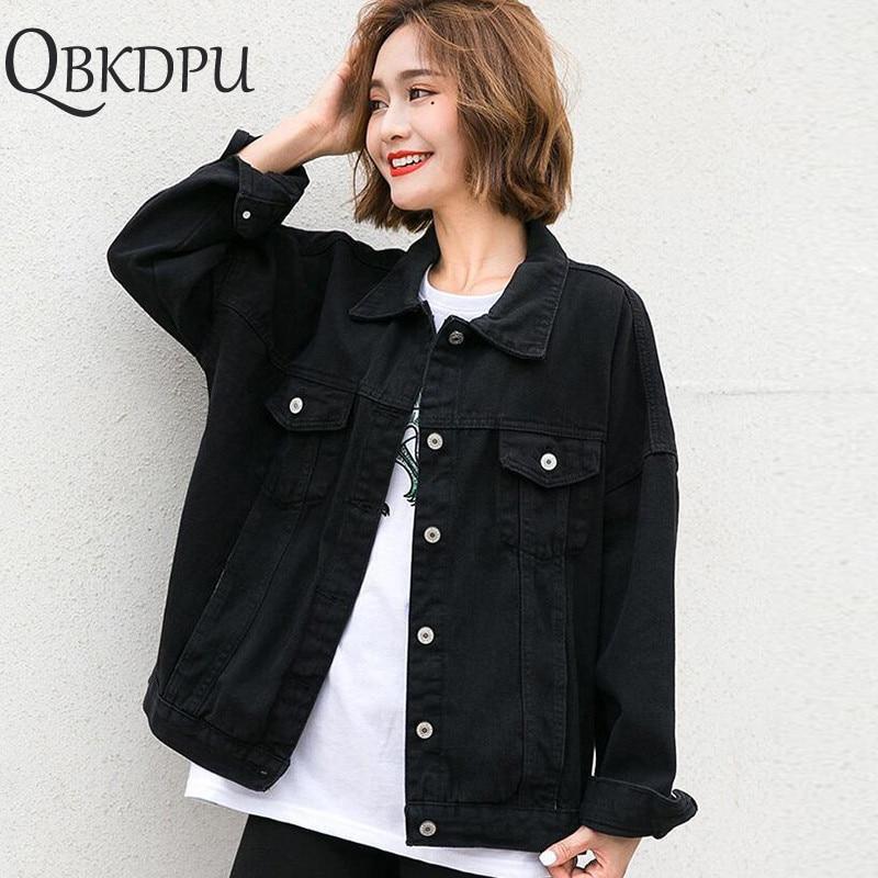 Harajuku Black Denim Jacket Women's Clothing 2019 Spring Korean Coat Women Outerwear Oversize Ladies Casual Jeans Jackets Tops